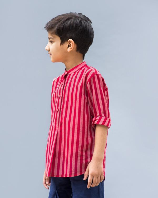 Little Mandarin Collar Stripe Shirt