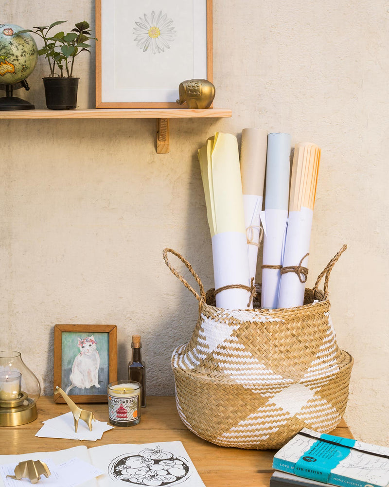 Seagrass Belly Basket - White & Natural