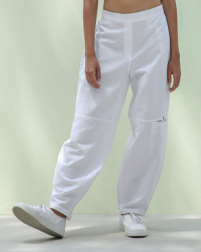 Knee Pocket Pants - White & Grey