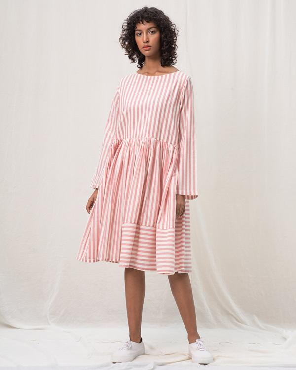 Rainy Season Stripe Dress - Pink