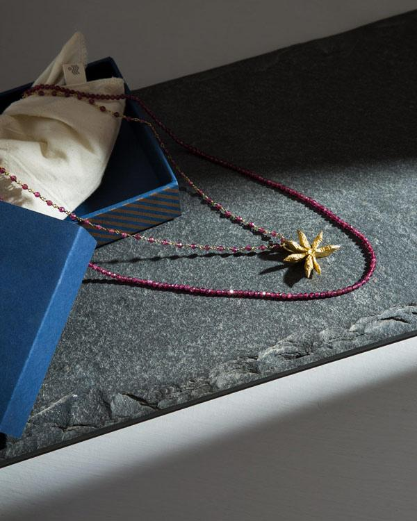 Layered Garnet Star Anise Necklace