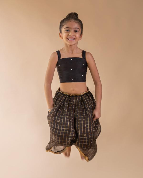 Little Smocked Top & Skirt Set With Dupatta (Set of 3)