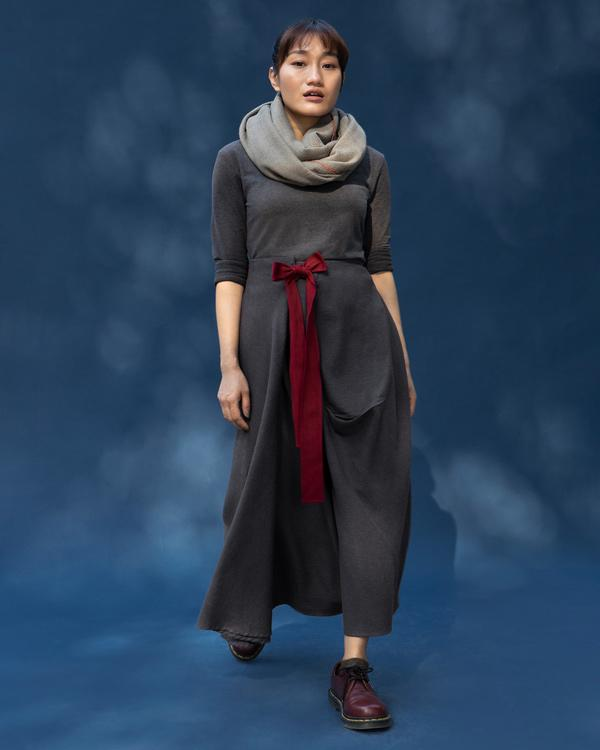 Side Knot Skirt - Charcoal