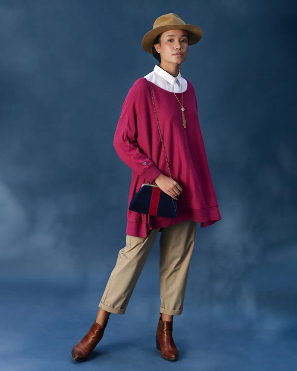 Victoria Boatneck Pullover - Berry