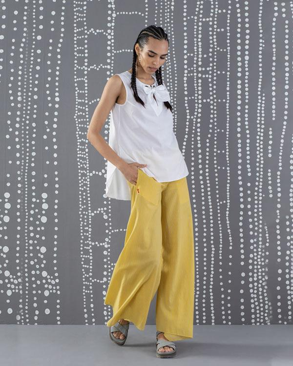 Uneven Hem Stripe Pants - Yellow & Grey