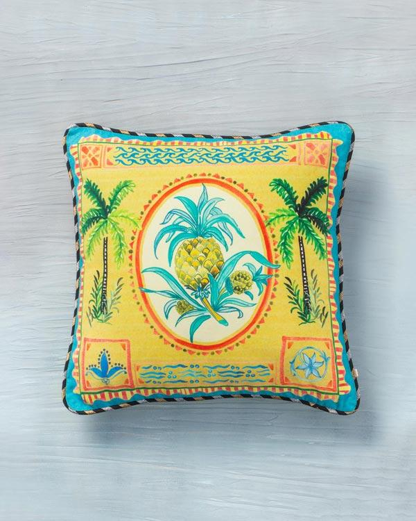 Pineapple Stamp Cushion - Yellow