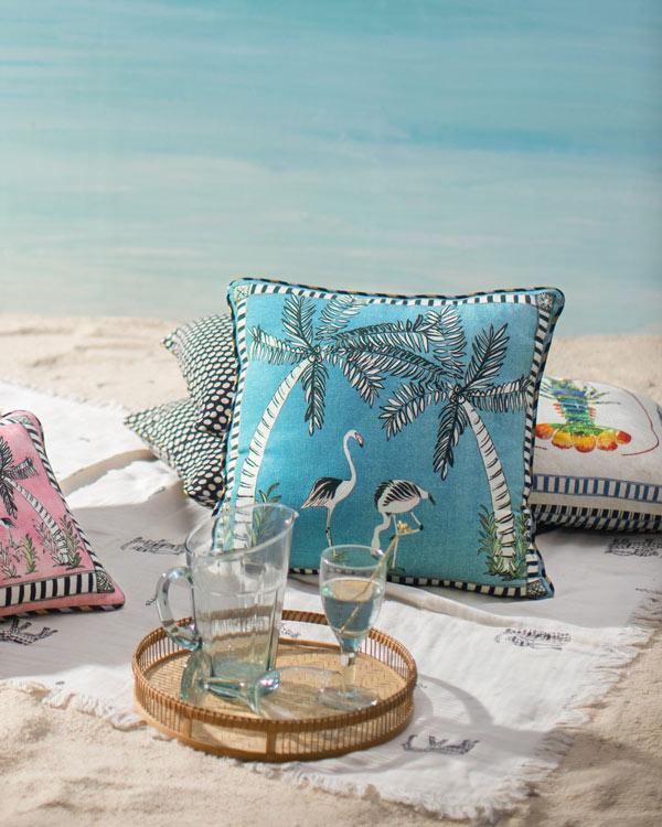 Flamingo Cushion - Blue