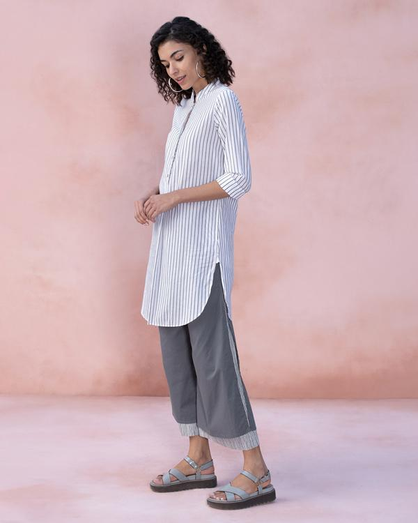 Mid-Length Stripe Kurta - Grey