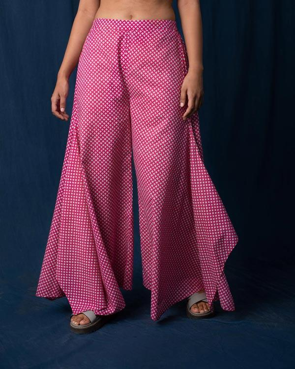 Uneven Hem Pants - Pink & Grey