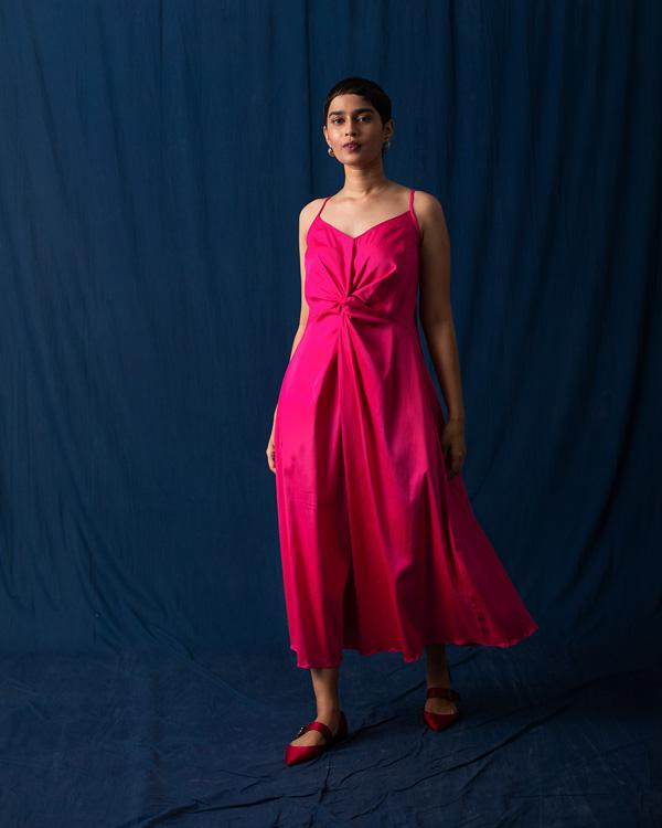 Front Knot Dress - Fuchsia