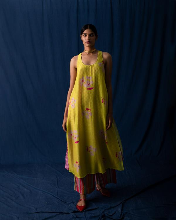 Double Layer Kurta - Lime