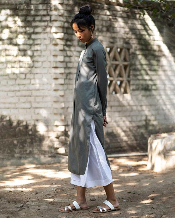 Basic Long Kurta - Charcoal