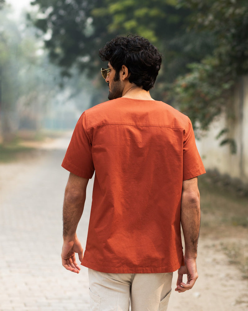 Panelled T-Shirt - Rust