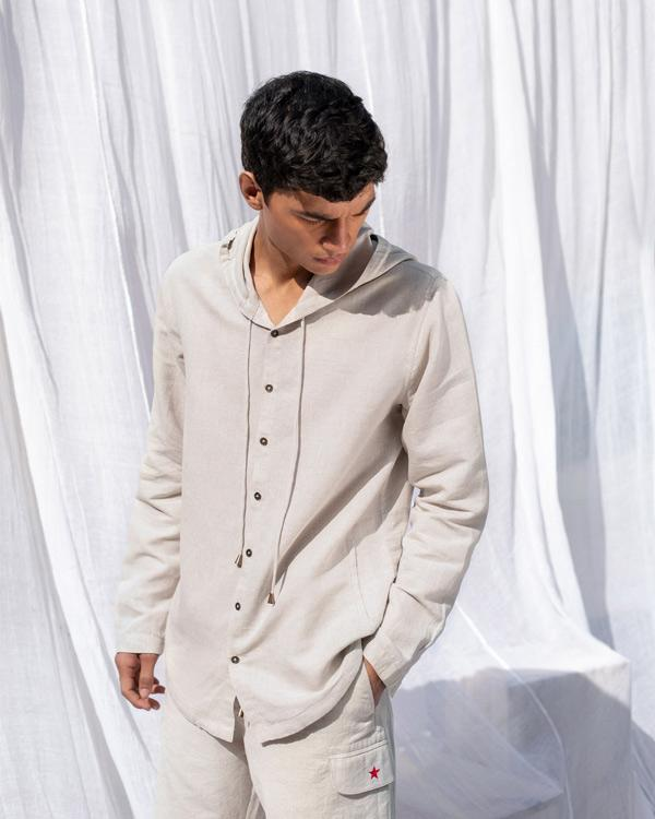 Button Down Hoodie Shirt - Natural
