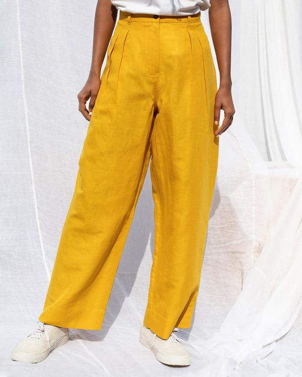 High Waist Pants - Ochre
