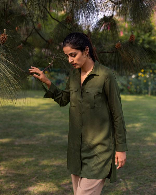Safar Pocket Kurta - Olive