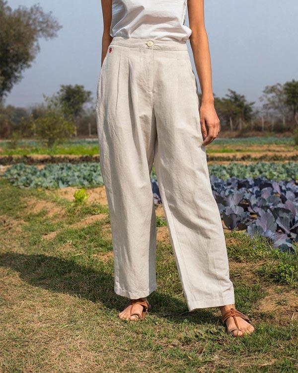 Mirage Pleated Pants - Natural