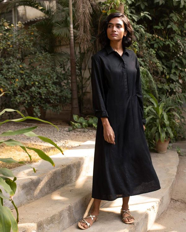 Back Knot Kurta - Black