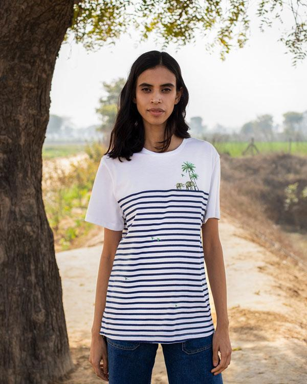 Marshy Land T-Shirt - White & Navy