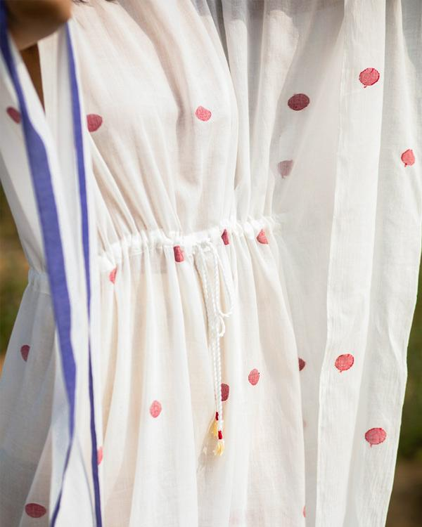 Drawstring Kaftan - Ivory & Red