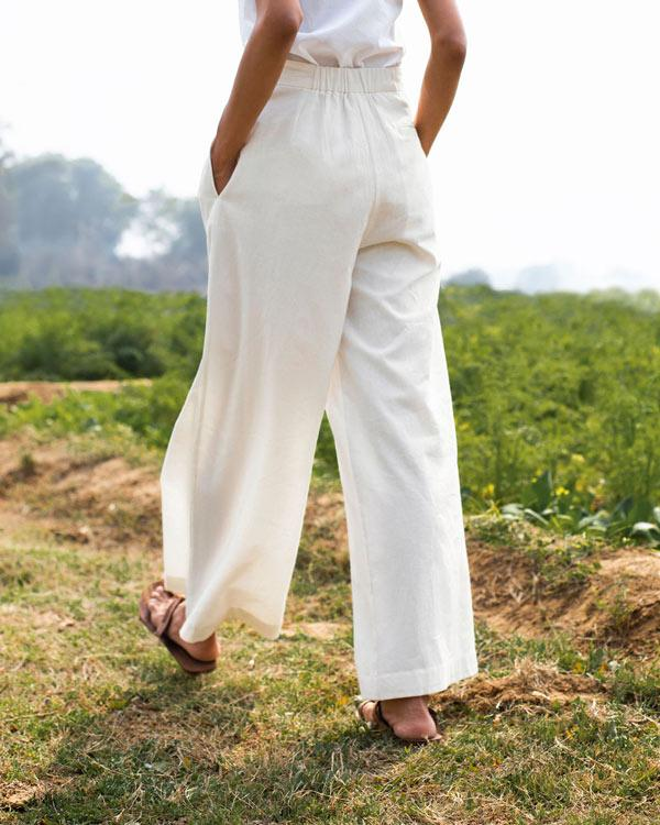 Front Pleat Trousers - Ivory
