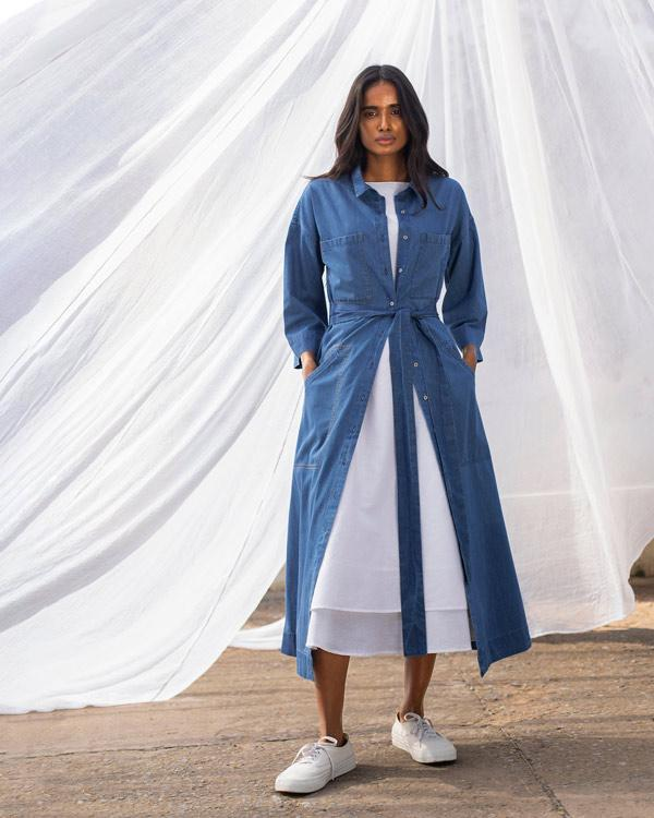 Longline Shirt Dress - Blue