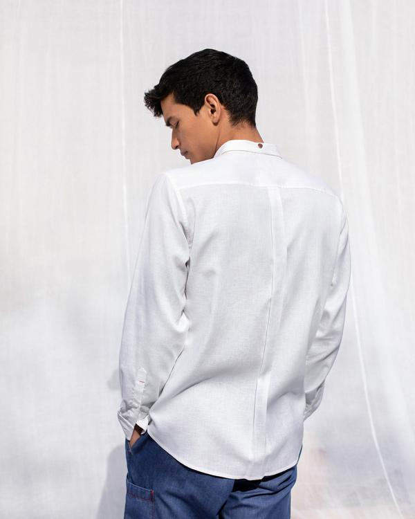 Pleated Placket Shirt - White