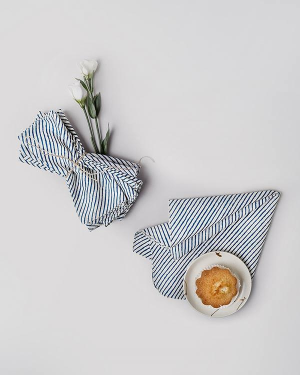 Aozora Stripe Dinner Napkins  (Set of 6) - Dark Blue