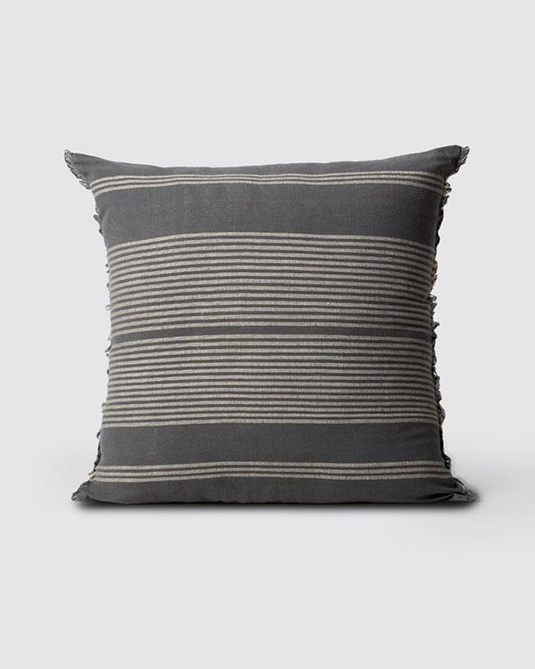 Woven Stripe Cushion - Charcoal & Ivory