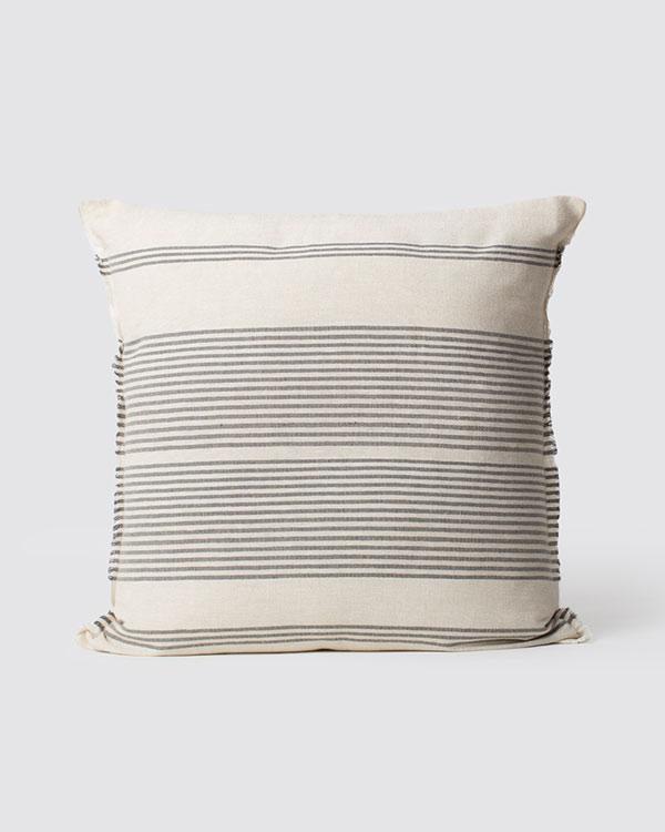 Woven Stripe Cushion - Ivory & Charcoal