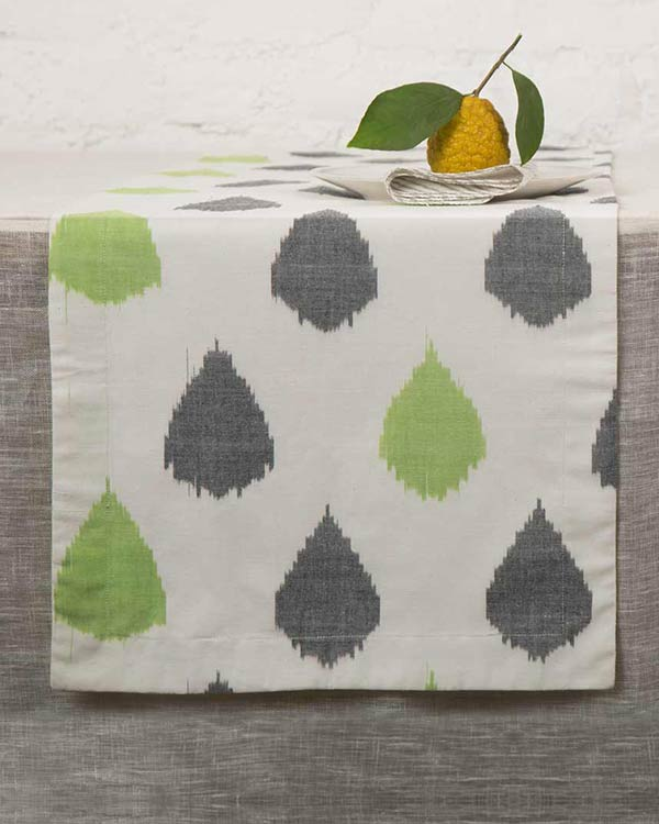 Ikat Tear Drop Table Runner - Charcoal & Lime