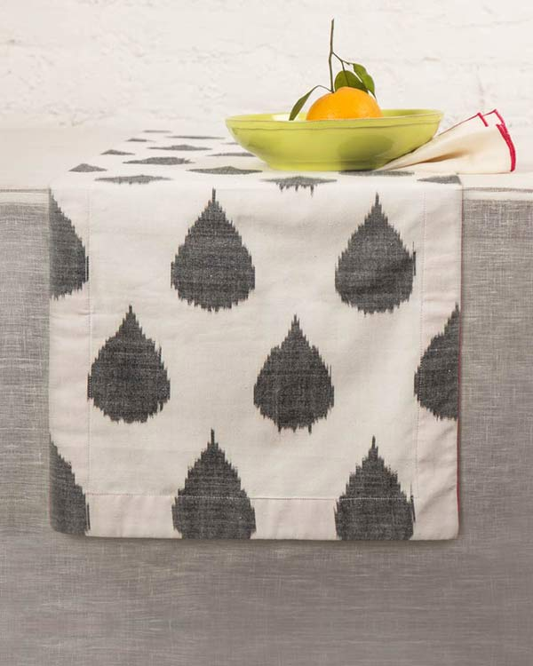 Ikat Tear Drop Table Runner - Charcoal