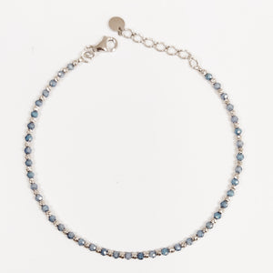 Load image into Gallery viewer, Bracciale pallinato diamantato in argento 925 a pietre alternate in sei varianti di colore
