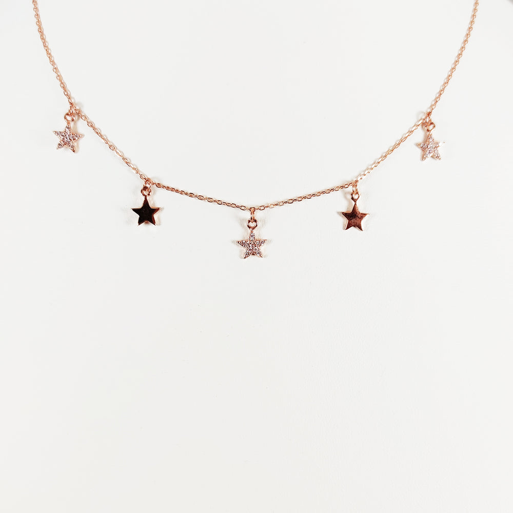 Choker in argento 925 con charms a stella alternati  con zirconi