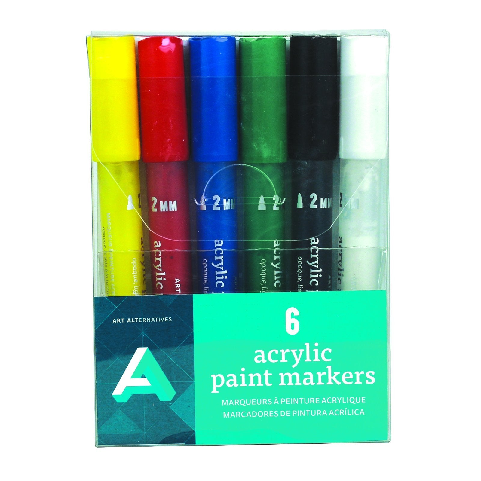 Art Alternatives Acrylic Paint Marker Set, 2mm, 6-Colors