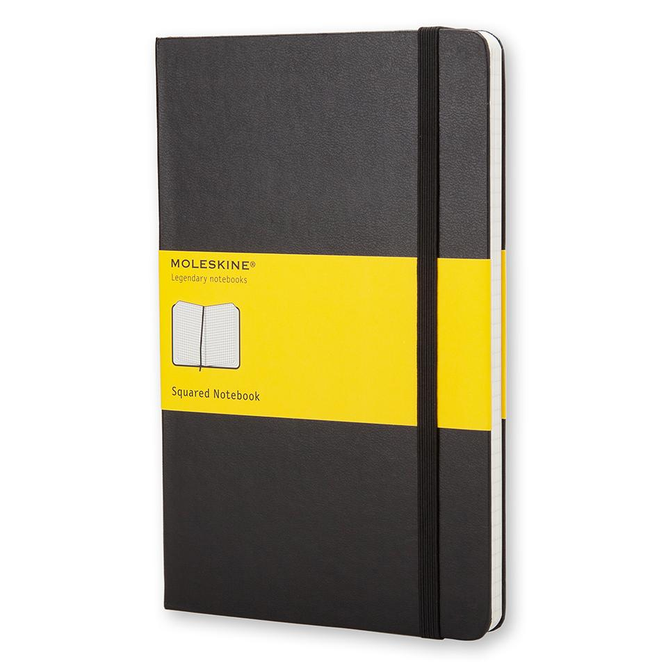 "Moleskine Classic Pocket Notebook, 3.5"" x 5.5"", Squared, Black"