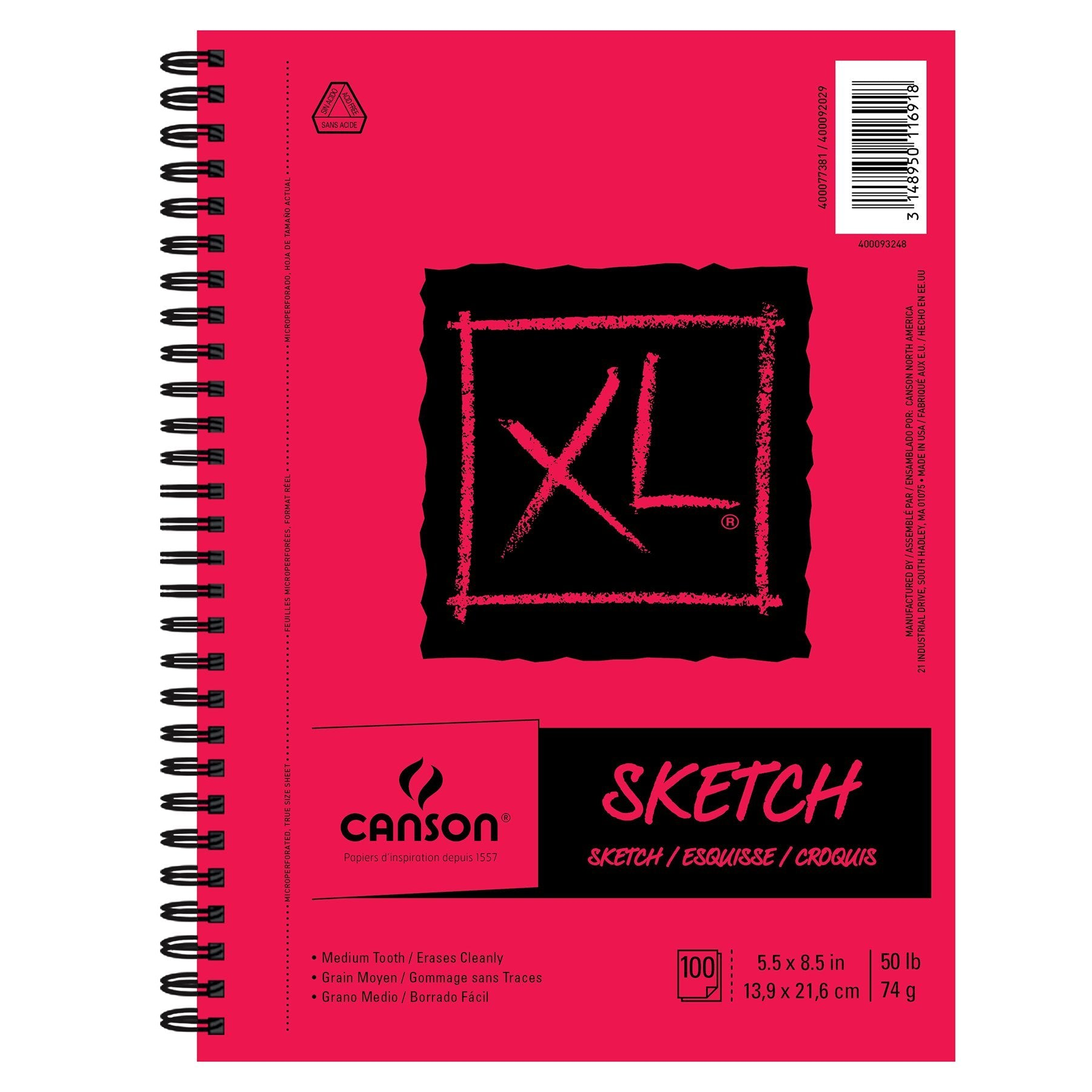 "Canson XL Sketch Pad, 5.5 x 8.5"", 100 Sheets/Pad"