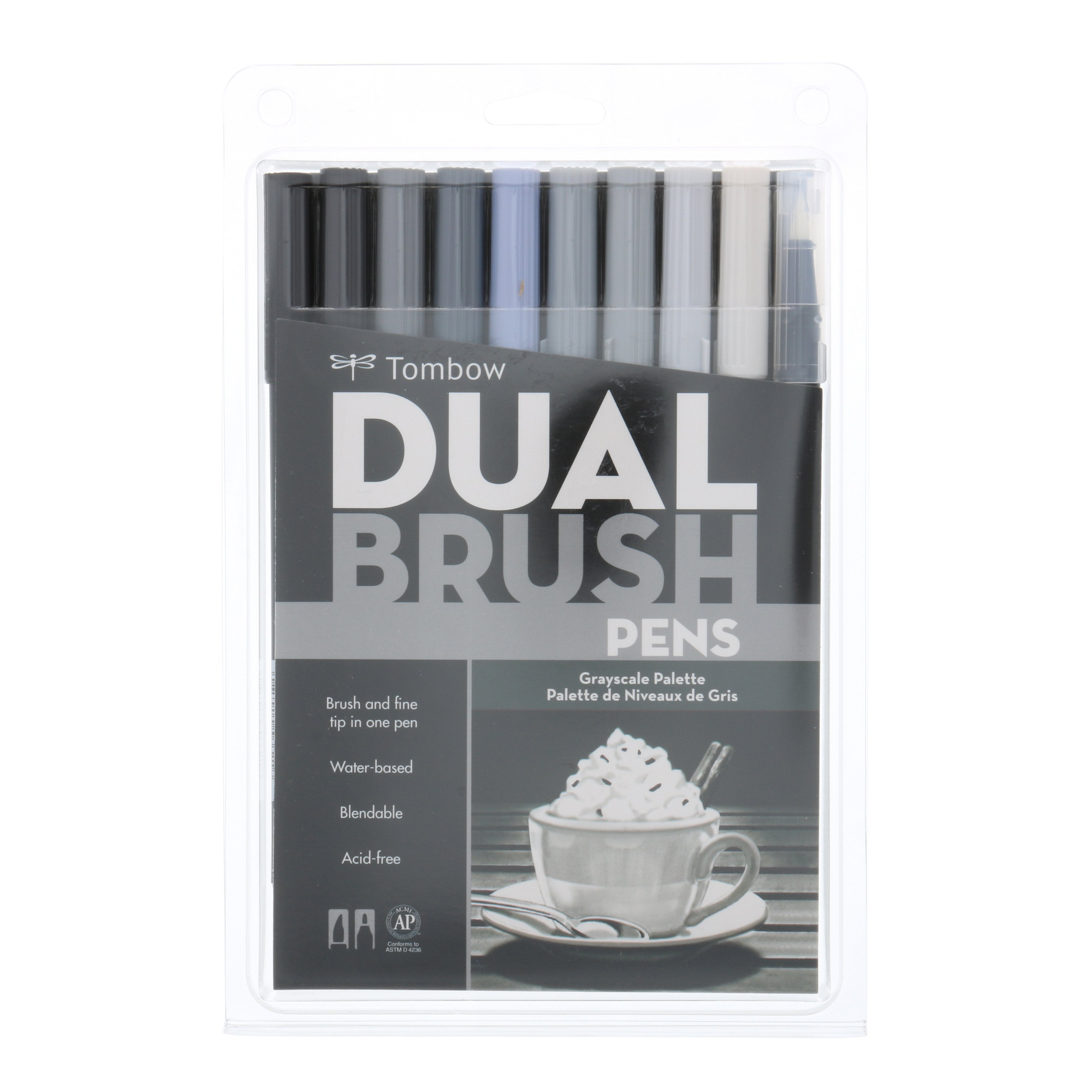 Tombow Dual Brush Pen, 10-Pen Set, Grayscale