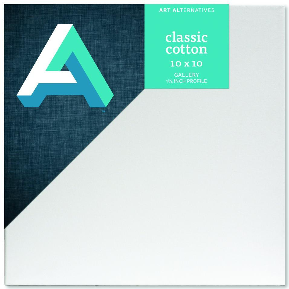 "Art Alternatives Classic Cotton Stretched Canvas, Gallery, 1.5"" Profile, 10"" x 10"""