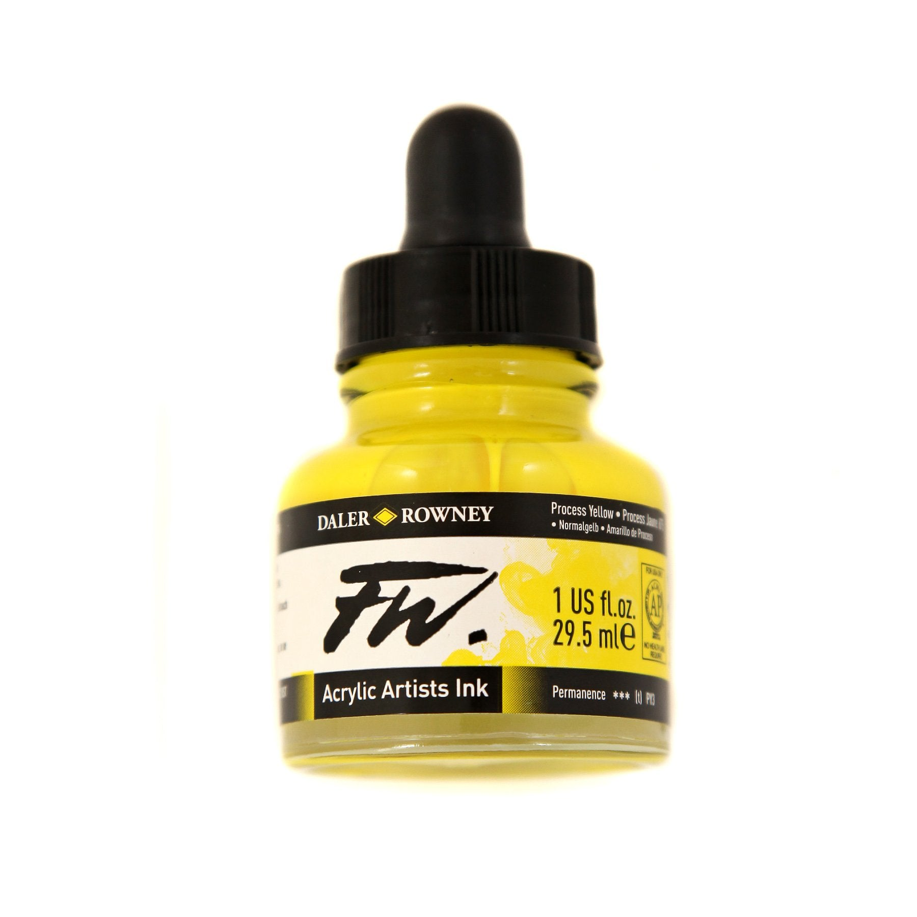 Daler-Rowney FW Acrylic Artists Ink, 1 oz. Dropper-Top Bottle, Process Yellow