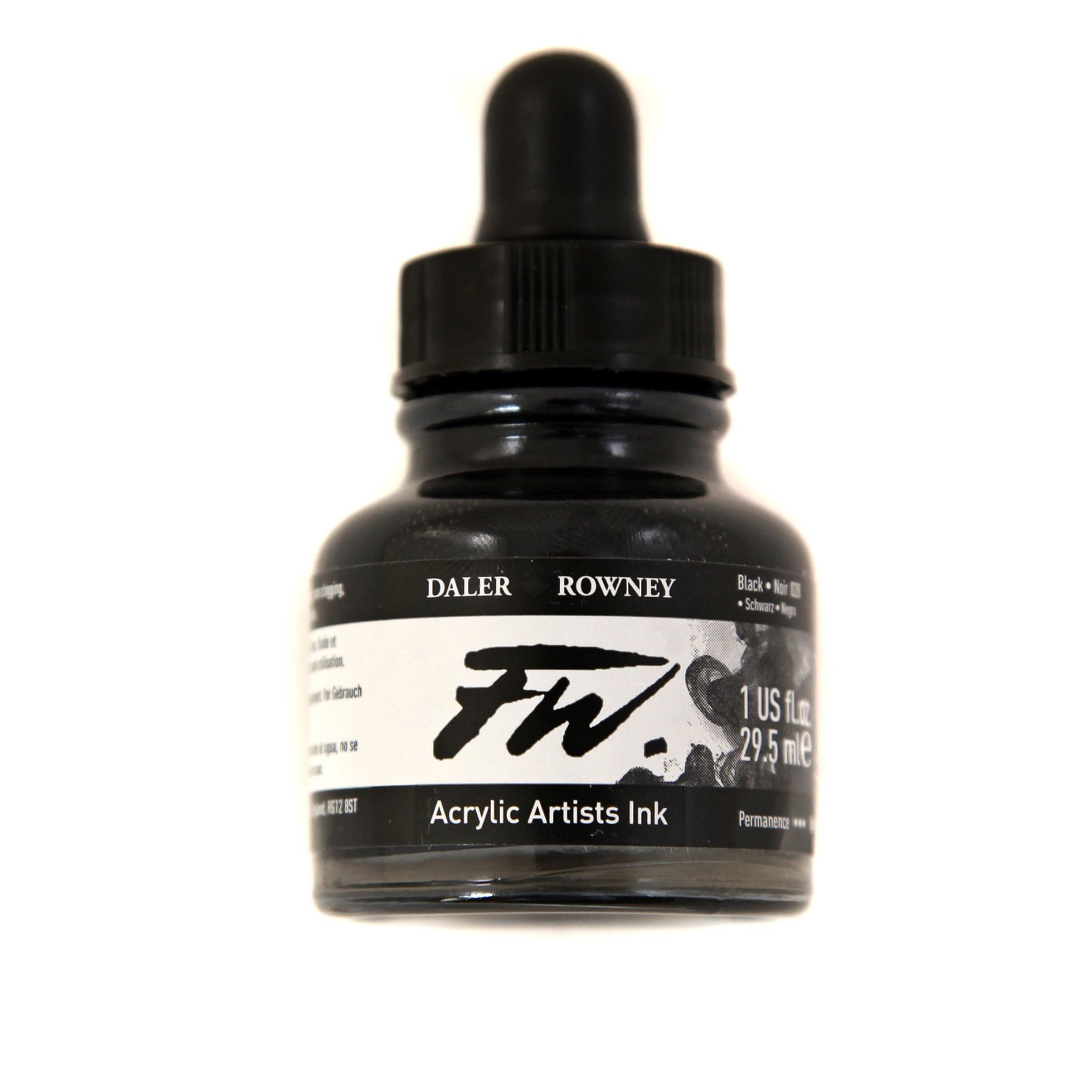Daler-Rowney FW Acrylic Artists Ink, 1 oz. Dropper-Top Bottle, Black India