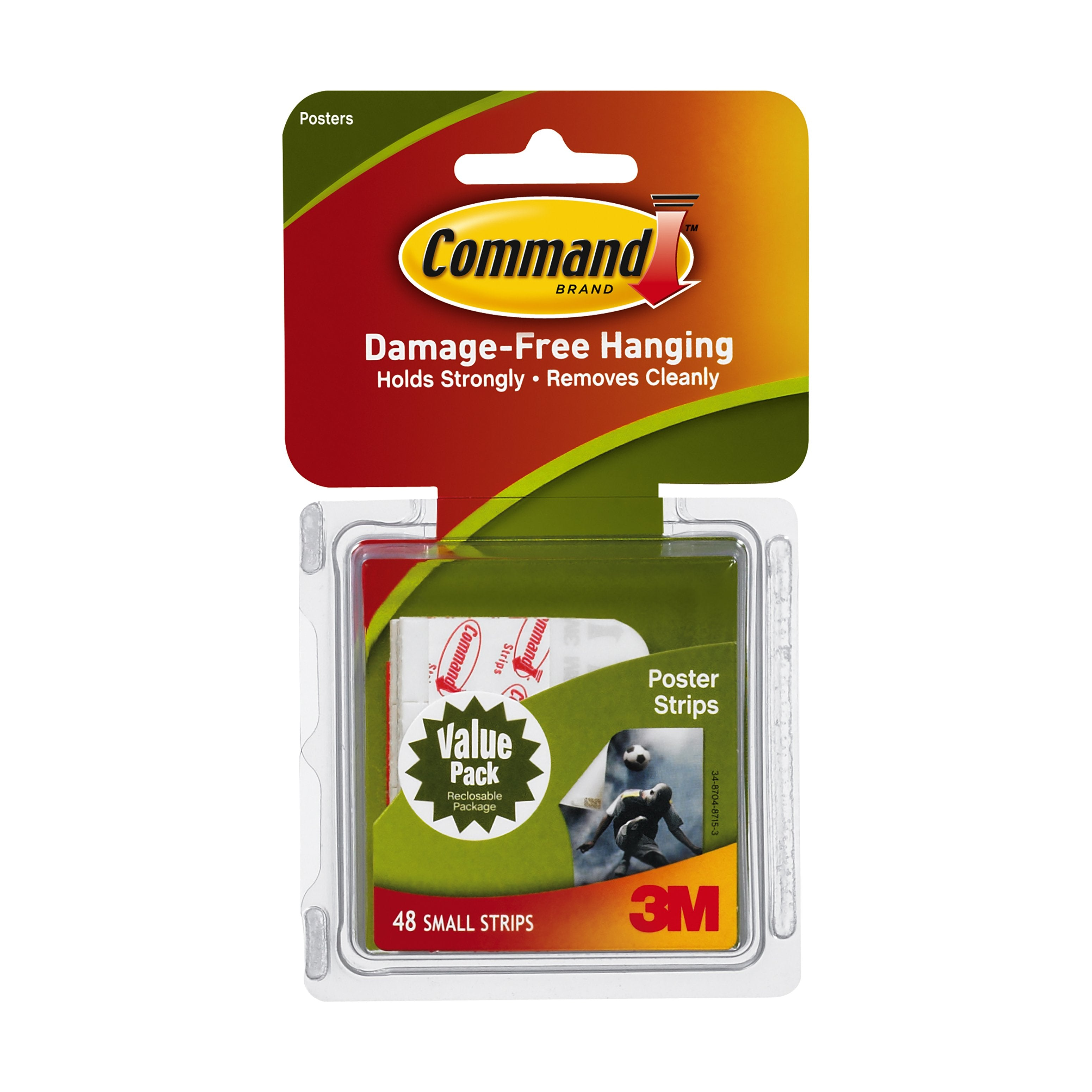 3M Command Poster Hanging Strips, Small, 48/Pkg.