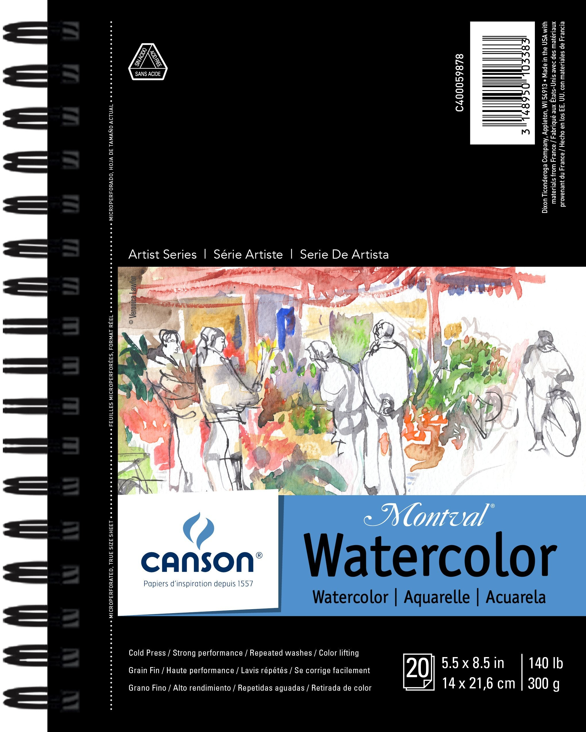 Canson Artist Series Watercolor Book, 5.5in x 8.5in, 20 Sheets/Pad