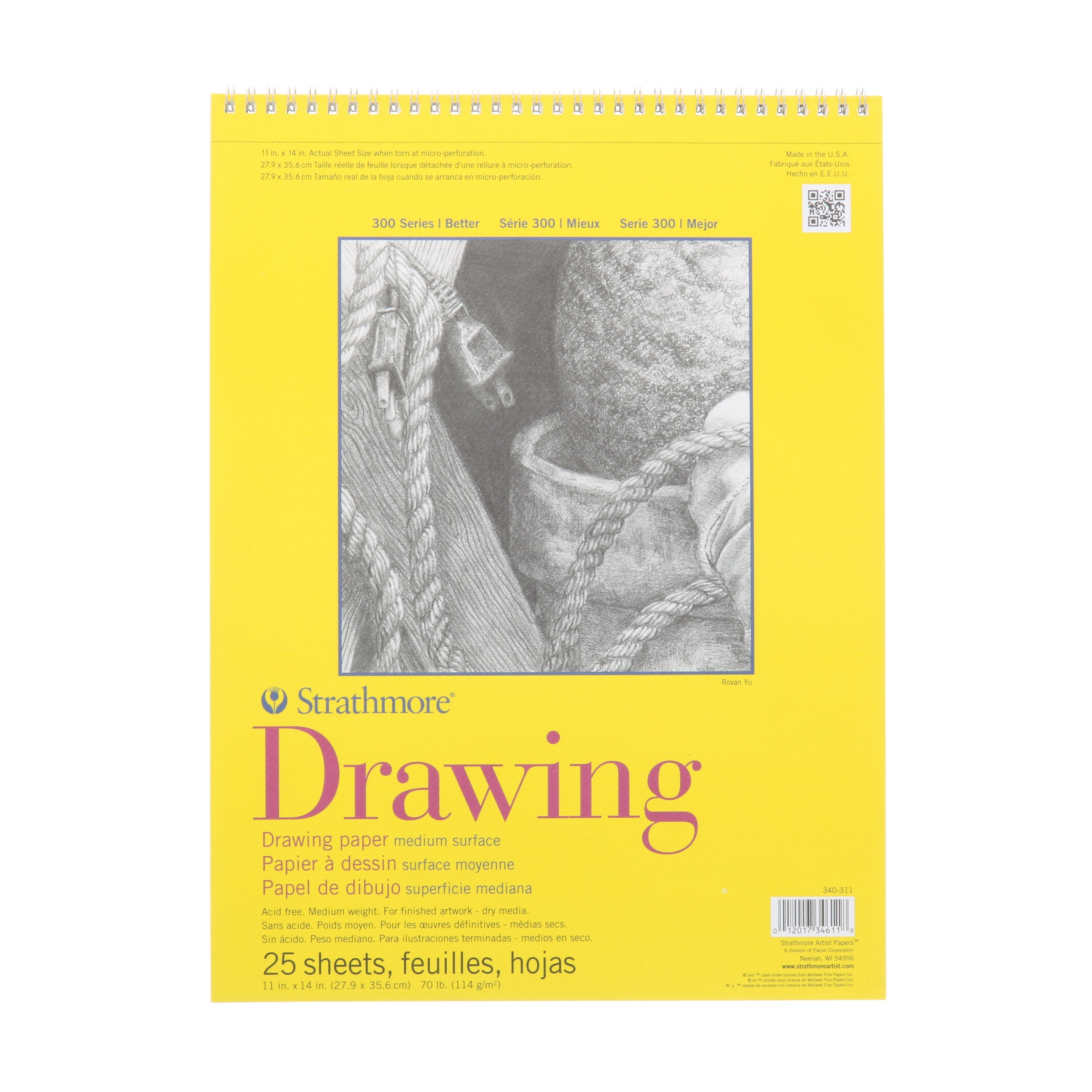 "Strathmore Drawing Paper Pad, 300 Series, 25 Sheets, 11"" x 14"", Spiral Bound"