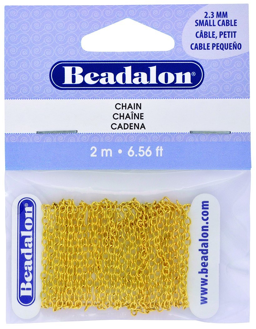 Beadalon Metal Chain, Small Cable, Gold Color, 2.3mm