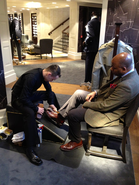 Shoe shine service in HACKETT London