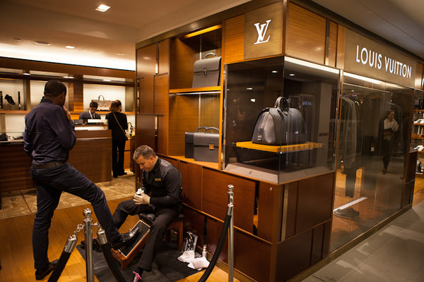 Shoe shine in London fo Louis Vuitton in Harrods
