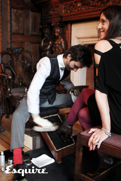 Shoe cleaning in London for Esquire magazine