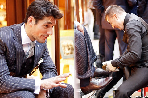 Romi Topi & David Gandy having a shoe shine