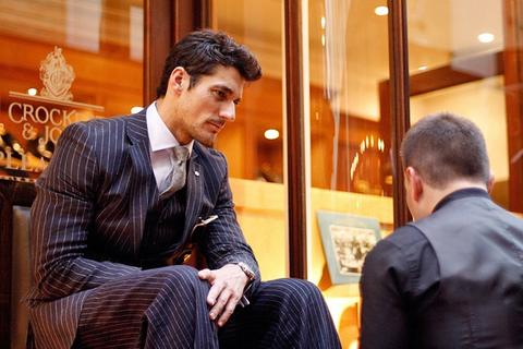 David Gandy having a shoe shine in Burlington Arcade